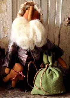 Primitive Folk Art OOAK Stump Standing Santa Doll With Ginger and Sack-St. Nick, Winter, Wool, Wool Roving, Christmas, FAAP, Hafair Team by MeadowForkPrims on Etsy