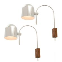 Pair of Chrome and Walnut Wall Lights by Sonneman