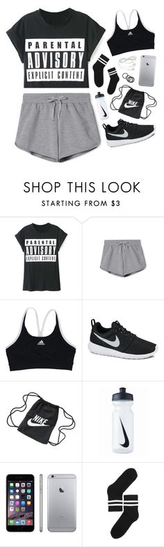 """i got that fire in my soul"" by silvanacavero ❤ liked on Polyvore featuring adidas, NIKE, Monki, women's clothing, women, female, woman, misses and juniors"