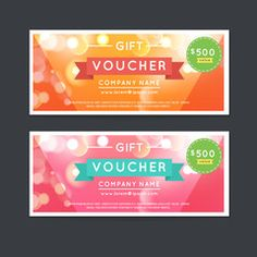 Vector illustration, Gift voucher template with clean and modern flat pattern.