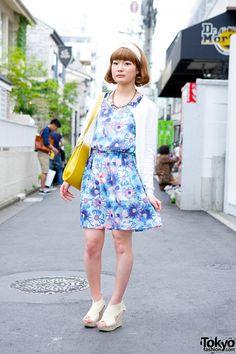 SLR floral dress & Uniqlo cardigan