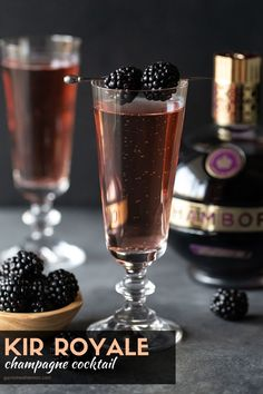 You can make any occasion special in moments with this easy recipe for Kir Royale cocktails. Made with only two ingredients (dry sparkling wine and Chambord), these Champagne drinks make celebrating a… More Champagne Drinks, Prosecco Cocktails, Cocktail Garnish, Fun Cocktails, Batch Cocktail Recipe, Cocktail Recipes, Drink Recipes, Cocktail Ideas, Lemon Recipes