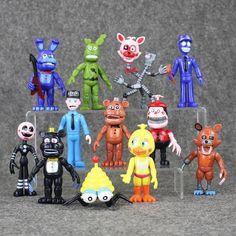 12pcs/lot Five Nights At Freddy's Bobblehead Bonnie Foxy Freddy Fazbear Bear Doll PVC Action Toy Figure