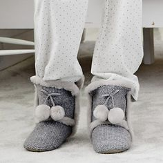 Pompom Boot Slippers