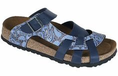 Pisa Soft Footbed Paisley Cobalt/Navy Birko-Flor The footbed of this unique style is layered with a dense foam to give you cushioned comfort all day. It is wonderful for sensitive feet. The curved strap and woven design hug your feet and the footbed supports your arches. Resoleable. #birkenstock #birkenstockexpress.com  $99