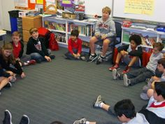 A 4th grade student leads the class.
