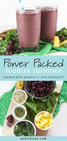 This Power Smoothie is a plant based breakfast smoothie loaded with spinach, kale, blueberries, pineapple, beets, probiotics, antioxidants and an enzyme blend that is so good that even the pickiest of eaters will devour it! Start their morning on the right foot with this healthy, protein packed, vegan breakfast smoothie! #plantbased #healthykids #vegan #breakfast #smoothie