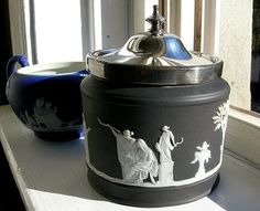 Black DIP Antique Wedgwood Jasperware Wedgewood Silver Hinged Lid Jam Jar Jelly