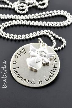 Silberketten - SCHMUCK GRAVUR, KETTE MIT ENGEL, SCHUTZENGELKETTE - ein Designerstück von bubidu bei DaWanda