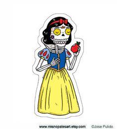 Snow White Calavera Die Cut Vinyl Sticker por MisNopalesArt en Etsy