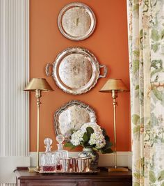 decorating with orange paint wallpaper interior design color ideas Halloween fall traditional classic style bedrooms dining powder room laundry bath closet Orange Dining Room, Orange Rooms, Orange Walls, Silver Platters, Silver Trays, Plates On Wall, Plate Wall, Malm, Cozy House