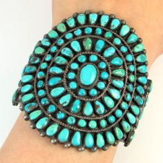 Lrg Old Pawn Zuni Sterling Silver Natural Turquoise Petit Point Cuff Bracelet J