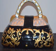 Fancy Designer Purse Cookie Jar Handbag Collectible By David S Cookies Black