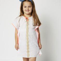 Milky Embroided Kaftan Dress White