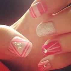 Nails, pink, nude, aztec, studs, sparkles
