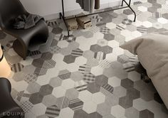 Indoor/outdoor wall/floor tiles with concrete effect HEXATILE CEMENT by EQUIPE CERAMICAS