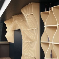 """Parametric wall is in the form of the wave. Decoration of the interior of the bar """" hard bar"""" in the city of Sochi . The material used birch plywood 15 mm Deco Design, Wood Design, Design Design, Plywood Furniture, Cool Furniture, Futuristic Furniture, Furniture Dolly, Modern Furniture, Design Industrial"""