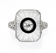 An Art Deco Rock Crystal, Onyx and Diamond Ring set in White Gold. Available at FD. www.fd-inspired.com