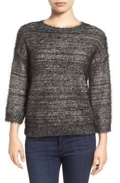 Main Image - Halogen® Metallic Eyelash Knit Sweater (Regular & Petite)