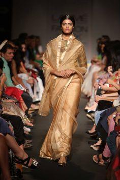 Sanjay Garg Gold #Saree At Lakme Fashion Week 2014.