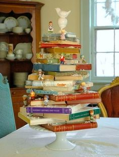 Tabletop Christmas tree made from books