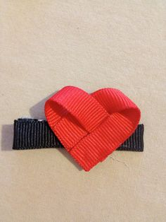 Valentines Heart Sculpted Hair Bow Clip by HairBowsByThree on Etsy, $1.50