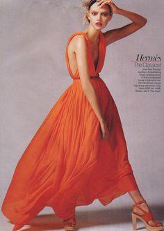 Jean-Paul Gaultier Grecian dress in Hermès blood-orange.