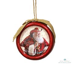 """Cowboy Santa Ornament"" Available at www.cliffkringle.com"