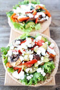 Roasted Vegetable Pita Recipe on twopeasandtheirpod.com #recipe
