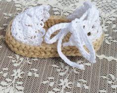 Crochet bebé alpargatas sandalias por All4Pears en Etsy