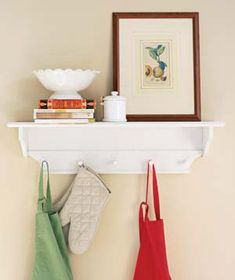 No more room in your cupboards and drawers? Consider hanging items like aprons, oven mitts, dish towels, even your pots and pans!