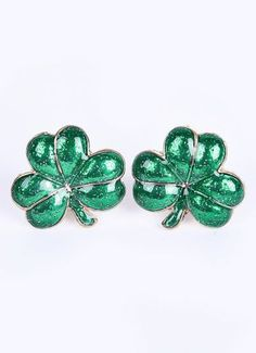 Green Glaze Leaf Gold Stud Earrings pictures