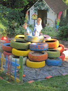Back Garden Ideas For Kids tire playground | juegos para patio | pinterest | tire playground