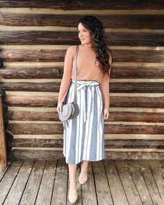 Modest fashion 773774779707094386 - Last night's church outfit! I adore this striped skirt. It's linked in my bio and it fits true to size. It's so pretty in person! My top is… Source by diariodenavegador Cute Church Outfits, Cute Modest Outfits, Modest Dresses, Casual Outfits, Modest Clothing, Church Outfit Summer, Cute Teacher Outfits, Fall Dresses, Sunday Outfits