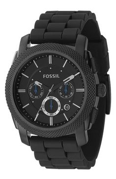 Fossil 'Machine' Chronograph Silicone Strap Watch, 45mm available at #Nordstrom
