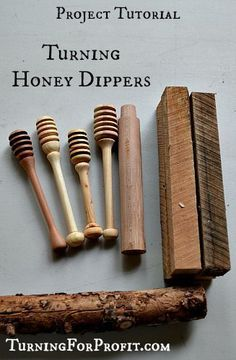 Honey Dippers are an Easy Turning Project to build your inventory.  A little between center turning to create a sweet tool for your kitchen.: