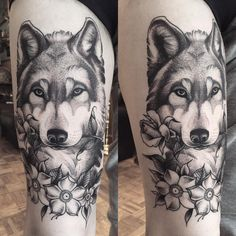 Dotwork Wolf tattoo by Krofty at The Tattooed Arms, Lincoln, UK. Dotshaded. Dotshading. Husky. Flowers. Blackwork. Rose. Tattoos. Thigh tattoo. Blackwork.