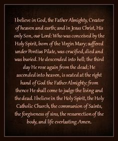The Apostles Creed  http://www.thecloisteredheart.org/2015/08/who-know-their-creed-so-well.html