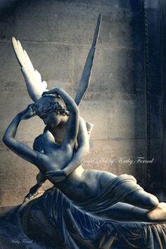 Paris Photography, Eros and Psyche, Paris Angel Art Photos, Romantic Paris Louvre Art Sculpture, Eros and Psyche Paris Blue Photography Eros And Psyche, Romantic Paris, Paris Photography, Paris Photos, Angel Art, Sculpture Art, Photo Art, Fine Art, Art Prints