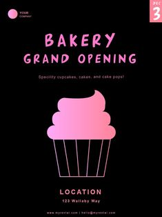 Bakery Flyer Template Bakery Flyer Templates bakery Mobile Advertising, Vector Format, Grand Opening, Flyer Template, Bakery, Custom Design, Posters, Templates, Poster