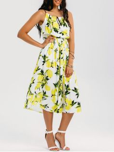 AD : High Neck Lemon Midi Beach Dress - MULTICOLOR L   This beautiful midi beach dress features a drawstring collar and a elastic waistband with a braided straps.  Style: Casual   Occasions: Beach and Summer,Casual ,Day   Material: Polyester   Silhouette: A-Line   Collar-line: High Collar   Dresses Length: Mid-Calf   Sleeves Length: Sleeveless   Pattern Type: Print   With Belt: No   Season: Summer   Weight: 0.3400kg   Package: 1 x Dress