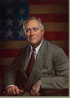 Franklin D. Roosevelt was the american President during the second world war.  Columbia Pictures by Michael J Deas