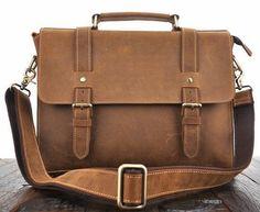 cf255cf1c14d Casual Brown Oil-Pull Leather Table Laptop Messenger Bag Laptop Messenger  Bags