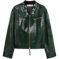 Marni Embellished perforated leather jacket (3,775 SAR) ❤ liked on Polyvore featuring outerwear, jackets, emerald, zip jacket, real leather jacket, multi color leather jacket, green sequin jacket and zipper leather jacket