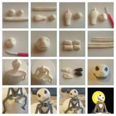 Jack Skellington tutorial posted in Tutorials by Kathls Backstum Bolo Halloween, Polymer Clay Halloween, Halloween Cakes, Polymer Clay Projects, Polymer Clay Creations, Clay Crafts, Halloween Village, Cake Decorating Supplies, Cake Decorating Tutorials