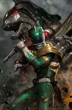 Green Ranger and Dragon Zord