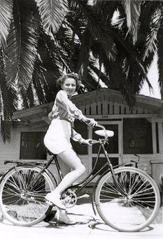 California bike ride, 1930s girl