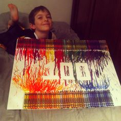 This was a super fun 100 days / 100th day of school project! Time-consuming but easy. We'll definitely be doing more crayon art soon.