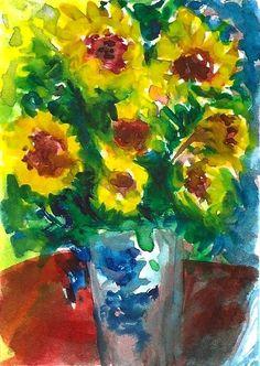 ACEO Sunflowers a la Monet Impressionist Painting Art OOAK SFA Penny Lee StewArt #Impressionism
