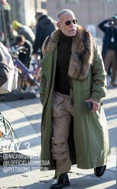 Older Mens Fashion, Nick Wooster, Canada Goose Jackets, Fur Coat, Winter Jackets, Menswear, Street Style, Coats, Urban Swag